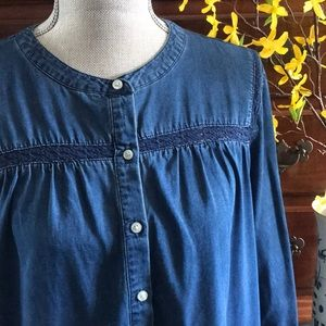 Old Navy Chambray Shirt Dress with Lace